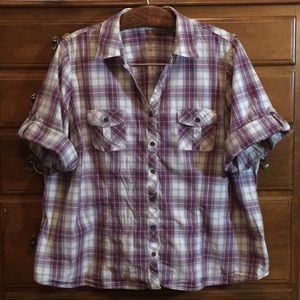 Sonoma Purple Plaid Button Down Shirt